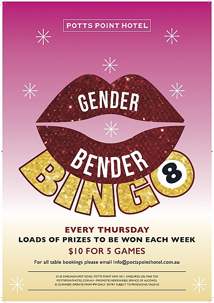 Potts Point Hotel, Bar, Bingo, Tranny Bingo, Gender Bender Bingo