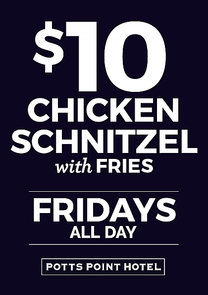 Potts Point Hotel, Potts Point, $10 schnitzel, Friday cheap eats