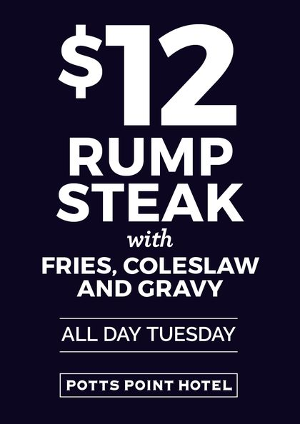 Cheap Eats, Mid Week Dining, Mid Week Specials, $12 Rump Steak, Cheap Eats, Meal Deal, Food Specials